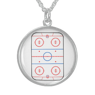 Ice Rink Diagram Hockey Game Decor Sterling Silver Necklace