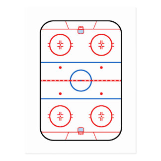 Ice Rink Diagram Hockey Game Design Postcard