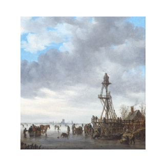 Ice Scene near a Wooden Observation Tower Canvas Print
