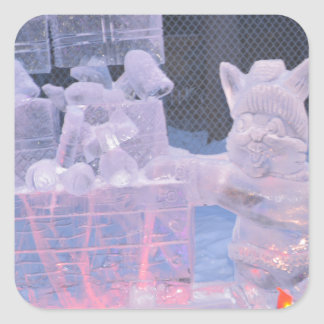 Ice Sculpture Sporting Artist Carving Arctic Gifts Square Sticker