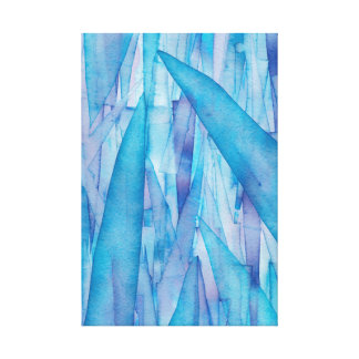 Ice Shards Blue Wrapped Canvas Print