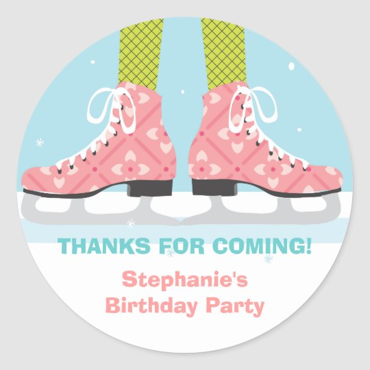 Ice Skate Birthday Party Thank You Sticker