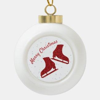 Ice skate Christmas ornament (red sparkle)