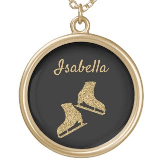 Ice skate Necklace figure skater gold glitter
