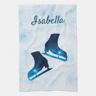 Ice skate towel figure skates blue