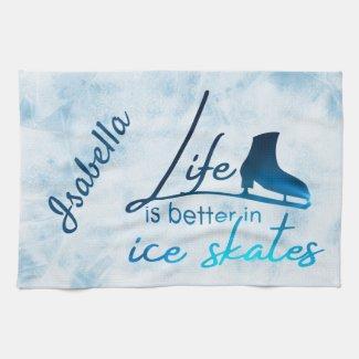 Ice Skate Towel gradient blue skate life better