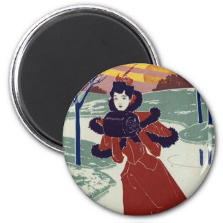 Ice Skater 2 Inch Round Magnet