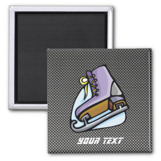 Ice Skater; Faux Carbon Fiber 2 Inch Square Magnet