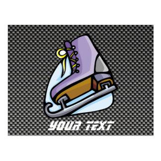 Ice Skater; Faux Carbon Fiber Postcard