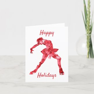 Ice skater female - red stars ice skating holiday card