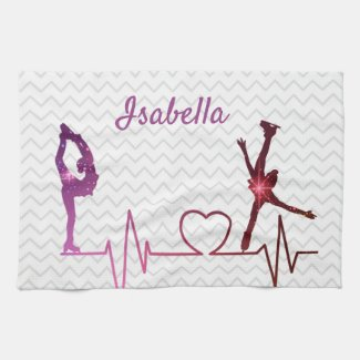 Ice Skater Towel blade heartbeat pink to red star