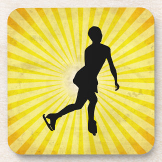 Ice Skater; yellow Drink Coaster