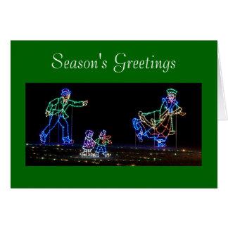 Ice Skaters Light Display for Christmas Card