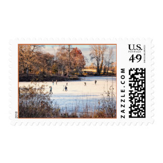 Ice Skaters Postage Stamp