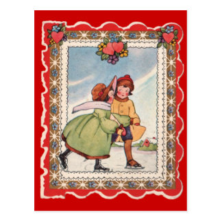 Ice Skaters - Valentine Postcard
