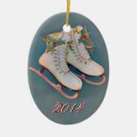 Ice Skates 2014 Double-Sided Oval Ceramic Christmas Ornament