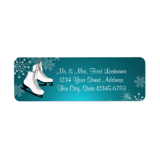 Ice Skates and Snowflakes Aqua Teal Label