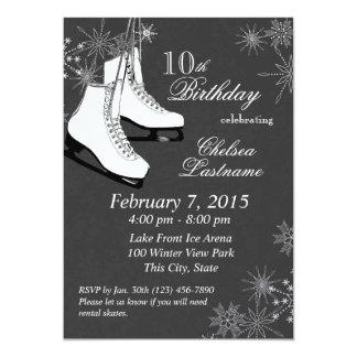 Ice Skates and Snowflakes Birthday 5x7 Paper Invitation Card