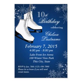 Ice Skates and Snowflakes Blue Birthday 5x7 Paper Invitation Card