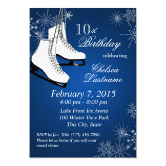 Ice Skates and Snowflakes Blue Birthday Custom Announcement