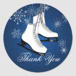 Ice Skates and Snowflakes Blue Round Stickers