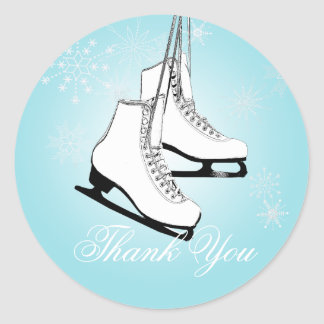 Ice Skates and Snowflakes Classic Round Sticker