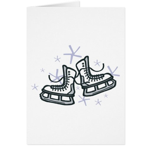 ice skates and snowflakes graphic greeting card