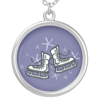 ice skates and snowflakes graphic silver plated necklace