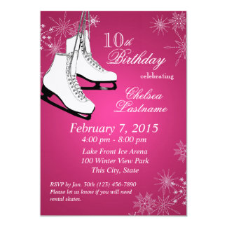 Ice Skates and Snowflakes Pink Birthday Customized Announcement Card