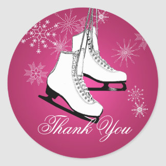 Ice Skates and Snowflakes Pink Classic Round Sticker