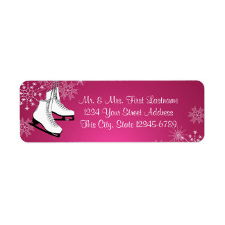 Ice Skates and Snowflakes Pink Custom Return Address Labels