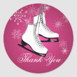 Ice Skates and Snowflakes Pink Stickers