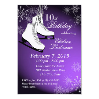 Ice Skates and Snowflakes Purple Birthday Announcements