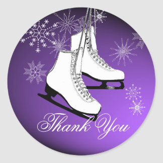 Ice Skates and Snowflakes Purple Round Sticker