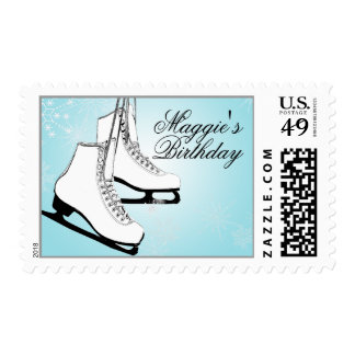 Ice Skates and Snowflakes Stamp