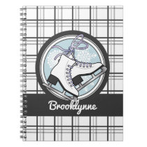 Ice Skates and Snowflakes Tartan Pattern Cute Notebook