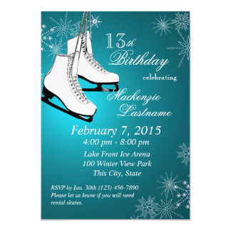 Ice Skates and Snowflakes Teal Birthday Card