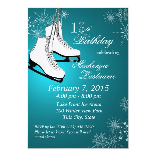 Ice Skates and Snowflakes Teal Birthday Personalized Invite