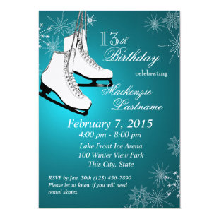 Ice Skates and Snowflakes Teal Birthday Invitation