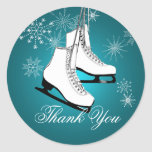 Ice Skates and Snowflakes Teal Stickers