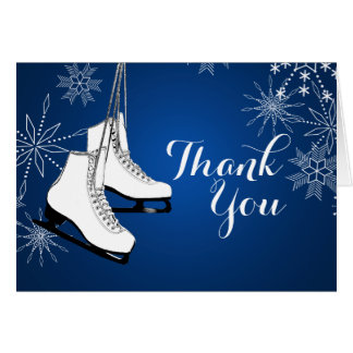 Ice Skates and Snowflakes Thank You Greeting Card