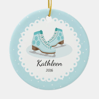 Ice Skates Dated Personalized Christmas Ornament