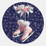 ICE SKATES in PINK by SHARON SHARPE Classic Round Sticker