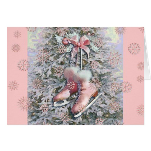 ICE SKATES in PINK by SHARON SHARPE Greeting Card