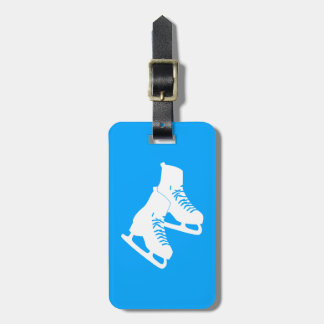 Ice Skates Luggage Tag Blue