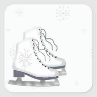 Ice Skates, Snowflakes Sticker