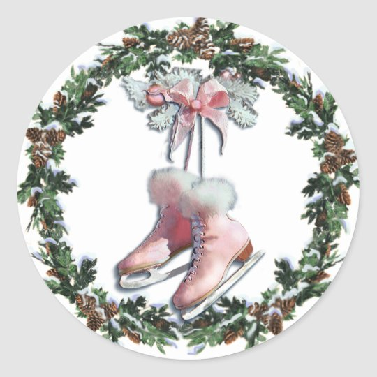 ICE SKATES & WREATH by SHARON SHARPE Classic Round Sticker