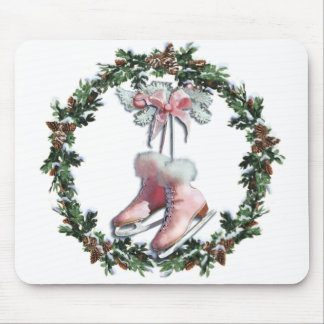 ICE SKATES & WREATH by SHARON SHARPE Mouse Pad