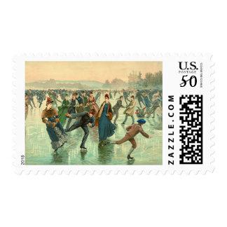 Ice Skating 1885 Postage