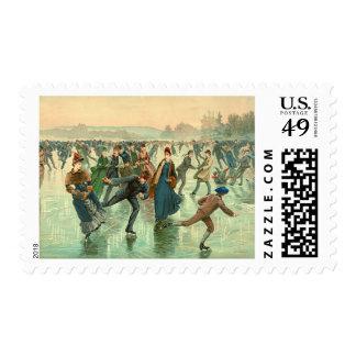 Ice Skating 1885 Postage Stamp